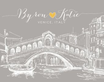 Rialto bridge, venice invitation