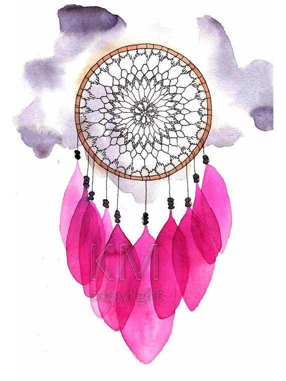 Dream Catcher #5, oficina de impresión de la pintura de acuarela Original - arte nativo americano de pared - decoración y decoración para el hogar