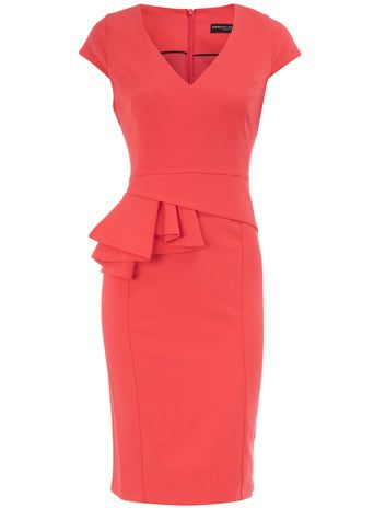 Coral V neck peplum dress: Coral V Neck, Fashion Clothes, Cheap Dresses, Amazing Lov, Asymmetrical Peplum, Coral Peplum, Coral Dresses, Work Dresses, Peplum Dresses