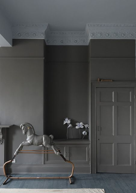 Farrow & Ball Mole's Breath  Great dark grey. Creepy rocking horse.