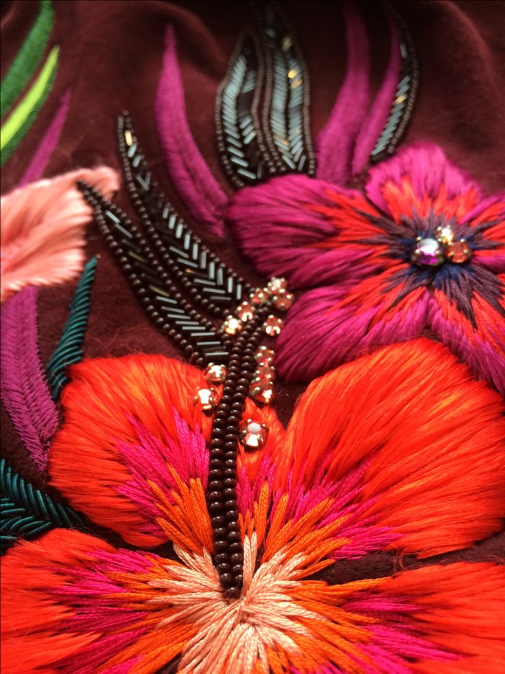 Detail shot of Matthew Williamson SS15 Embroidery