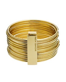 I like the clip, which holds the bangles together, or can be removed so that they can freely move around your arm.  By Michael Kors.