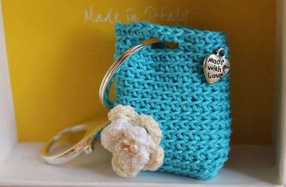 Key holderCrochet purse keychainTurquoise purse key by LiveFashion