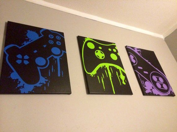 Three Piece Video Game Controller Painting Set, Video Game Art, Hand Painted, Custom Colors, Custom Wall, Video Game Decor, Teenage Wall Art
