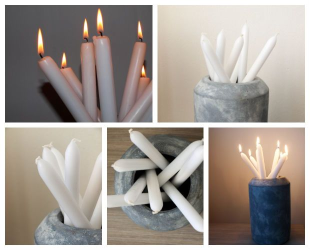 Kaarsen in betonnen vaas. Vaas is van Leen Bakker.