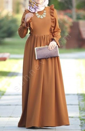 Suhneva - Fırfırlı Narin Elbise - Camel