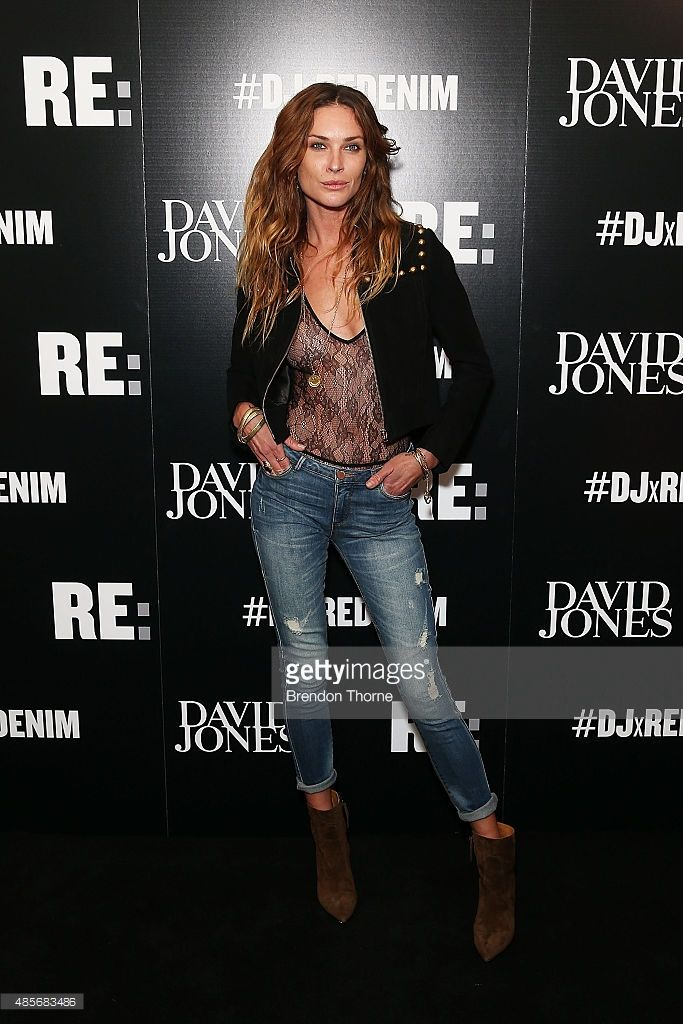 Erin Wasson arrives at the 'RE: Denim For David Jones' launch party at St James Station on August 29, 2015 in Sydney, Australia.