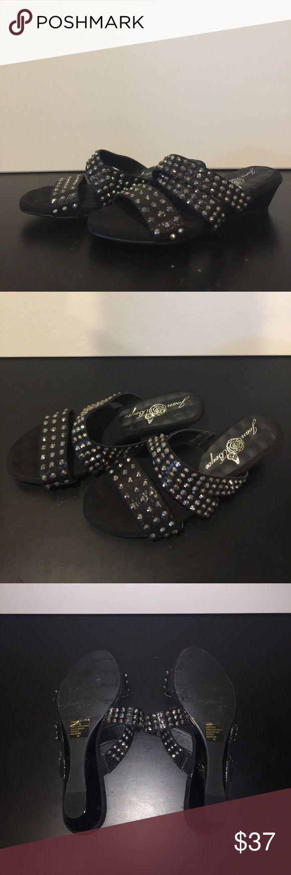 Black sandals littlewoods - Joan Boyce Black Blingtastic Low Wedge Sandal 8w