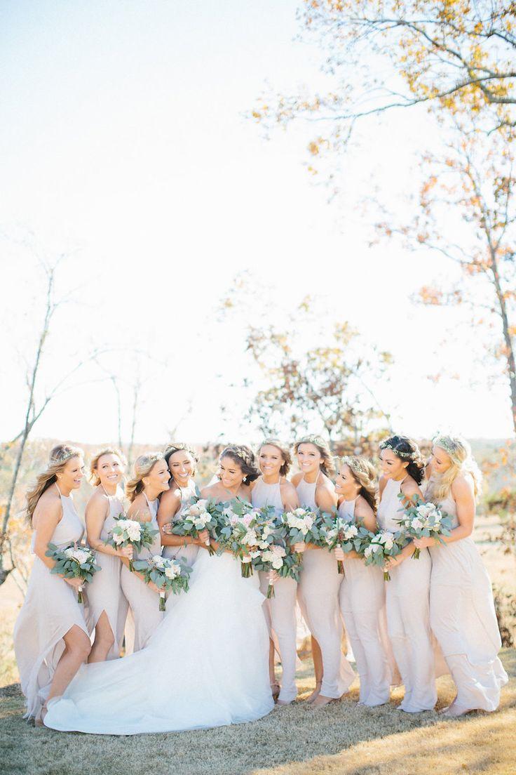 Neutral wedding is beyond gorgeous! Floral Design: Stylish Stems - http://www.stylemepretty.com/portfolio/stylish-stems Bridesmaids' Dresses: Show Me Your Mumu - http://www.showmeyourmumu.com Photography: Hillary Leah Photography - www.hillaryleahphotography.com   Read More on SMP: http://www.stylemepretty.com/2017/02/27/georgia-simple-eleganance-wedding/