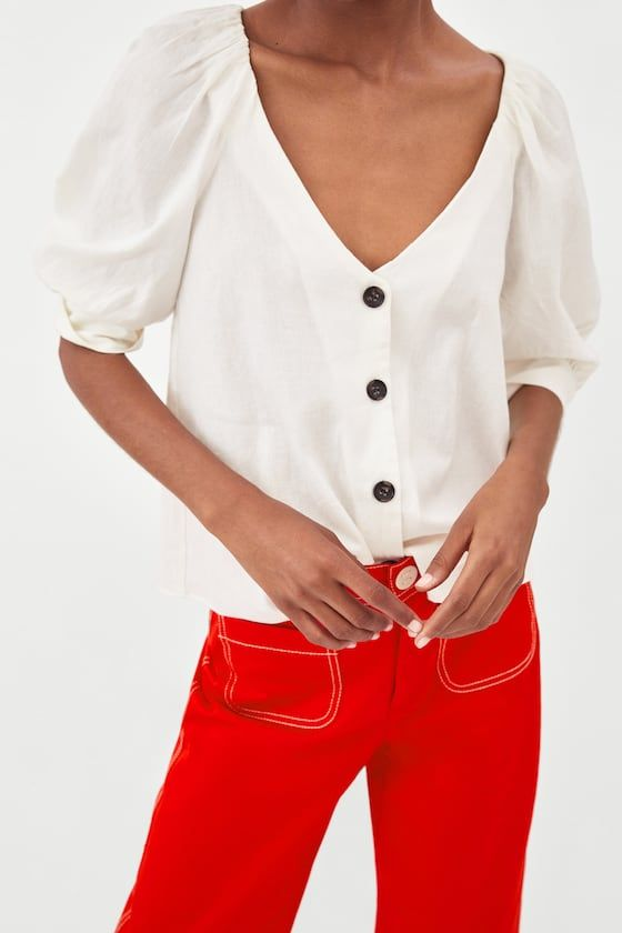 8220b21ba4 LINEN TOP WITH BUTTONS from Zara. SIze: L. | Wishlist | Tops, Linen ...