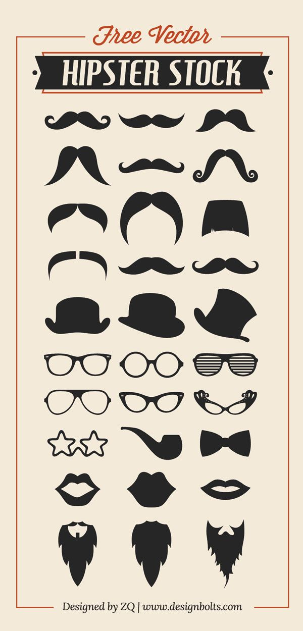 Free-Vector-Hipster-Stock-Mustache-Beard-Charlie-Hat-&-RayBan-Glasses