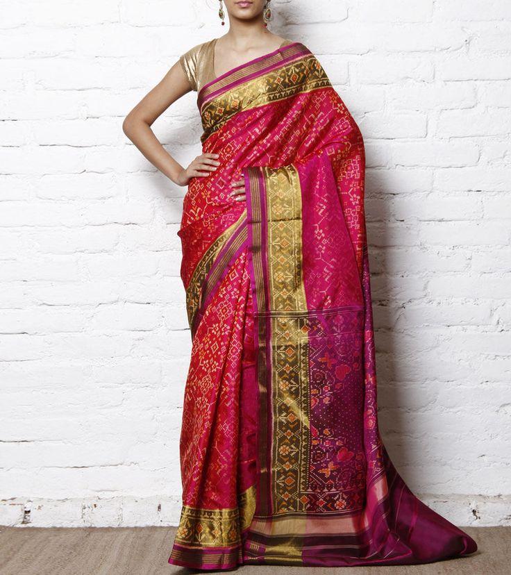 Magenta & Pink Handwoven Single Ikat Patola Saree
