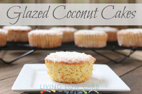 Glazed Coconut Cakes (Low Carb) -  2.57 net carbs (per cake--recipe makes 10 cakes)