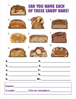 Candy Guessing Game-You could even not use the pictures and instead do it by taste test and hints (Baby Ruth=tiny child baseball player)
