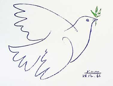 """One of my favorite works of art. Just a simple doodle that blows my mind every time I look at it. Picasso, """"Blue Dove"""" 1961.     """"All children are artists. The problem is how to remain an artist once he grows up."""""""