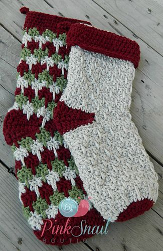 This Classic Christmas Stocking is worked up using a spike/flame stitch. It can be made using a combination of colors or as one solid. Pattern has 2 size options.