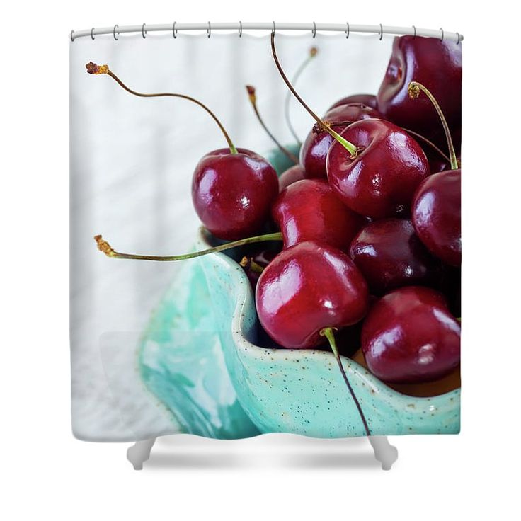 Oksana Ariskina Shower Curtain featuring the photograph Red Cherries by Oksana Ariskina  Red fruits berries in aqua bowl on white table.  Available as mugs, posters, greeting cards, phone cases, throw pillows, framed fine art prints, metal, acrylic or canvas prints, shower curtains, duvet covers with my fine art photography online: www.oksana-ariskina.pixels.com #OksanaAriskina