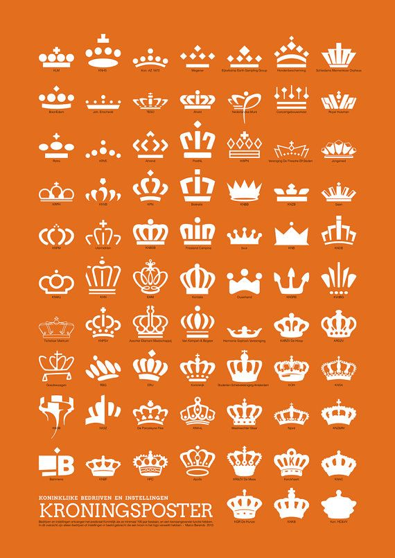 Celebration of new king in the Netherlands 30 April 2013: Kings Poster on A1 with all 73 crowns of Royal companies and organisations - (royal honour is only received when 100 years or more companies have been a leader in their industry and the crown can be used in their logo)