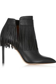 Valentino Fringed textured-leather ankle boots. For more on how to wear fringe visit www.styleontheside.com