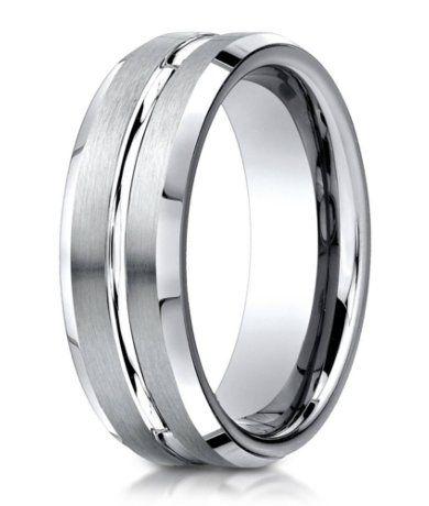 Designer 950 Platinum Men's Wedding Ring With Center Cut | 6mm