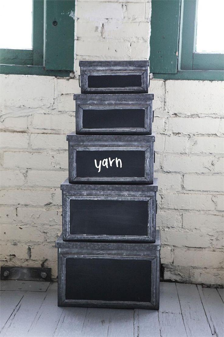 Chalkboard Metal Storage Boxes   Set Of 5   Pied A Terre: Parisian Loft  Collection   Dot U0026 Bo