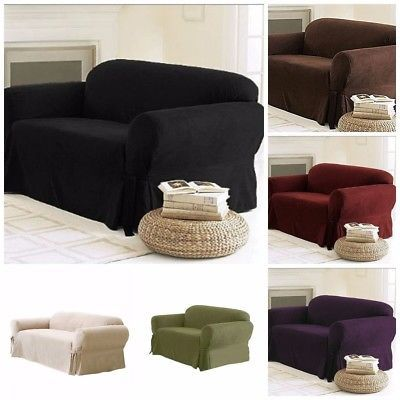 Soft Solid Micro Suede Sofa Loveseat Armchair Cover Slipcover 9 Colors