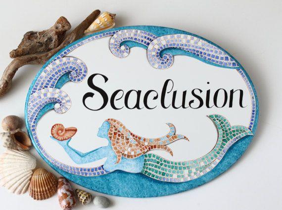 Personalized mosaic coastal beach sign, Mermaid sign, Personalized beach house sign, House name sign
