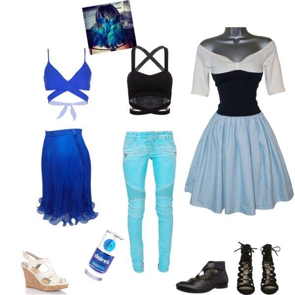 lapis lazuli ~ steven universe by silverwolfiegirl on Polyvore featuring Balmain, L*Space and claire's