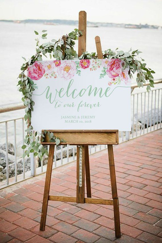 Peony Flower Bridal Shower Welcome Sign, Editable Template