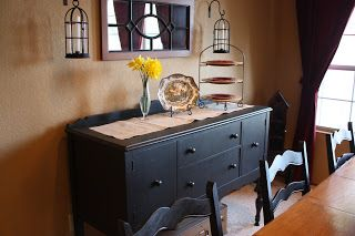 black buffet with brown dining room table - Google Search