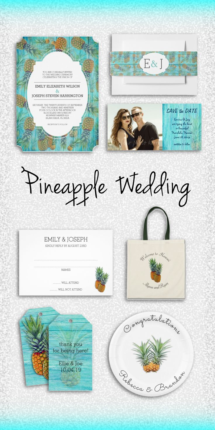 Pineapple wedding invitations and matching reply cards, bags, paper goods, and more.  Aqua blue, rustic wood design with pineapple pattern.  #Hawaiianwedding #rusticbeachwedding #pineappledesign #tropicalwedding #turquoisewedding