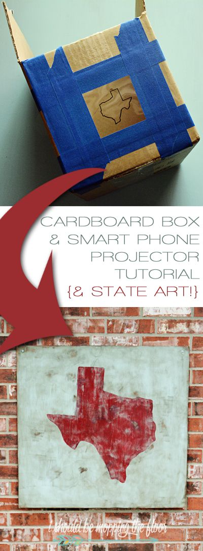 How to make a DIY Cardboard Box and iPhone Projector   Includes painting technique for the DIY State Art made with the projector, too.
