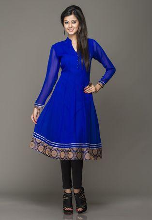 Gorgeous. | Royal #Blue Viscose #Georgette Readymade Long Kurta $78