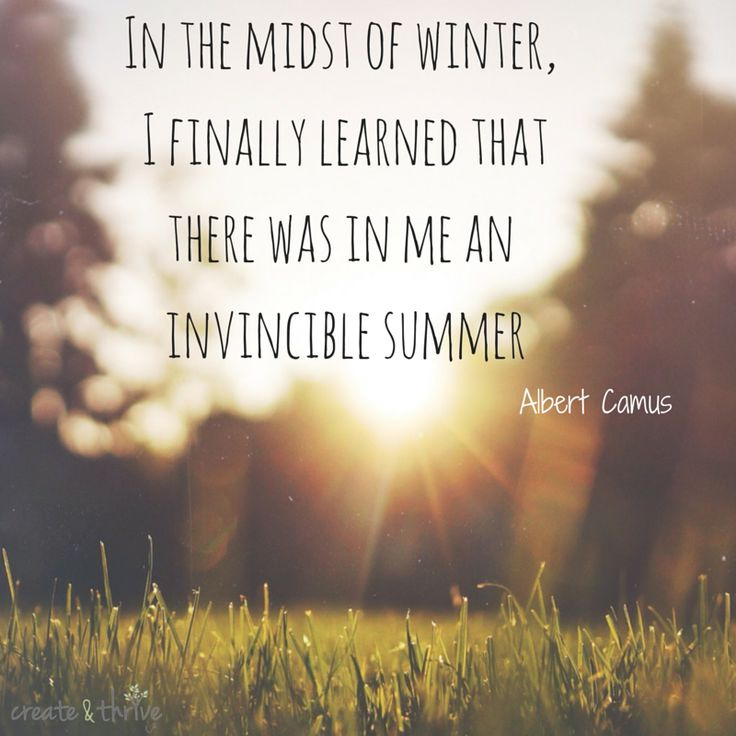In the midst of winter, I finally learned that there was in me an invincible summer - Albert Camu