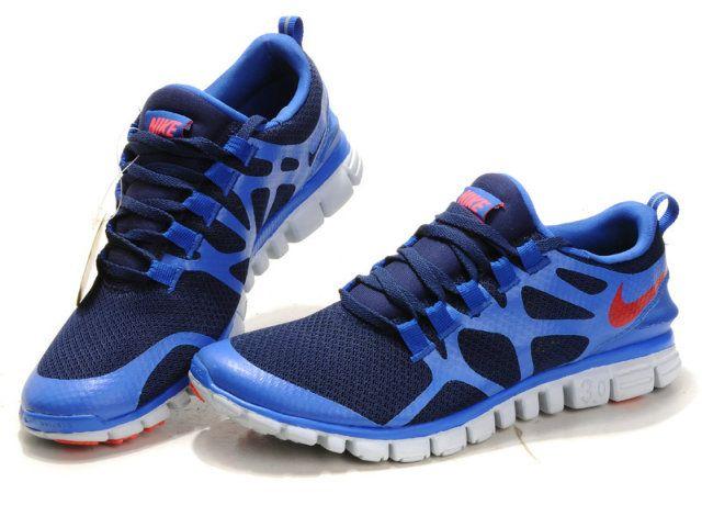 Damen Nike Free 3.0 V3 Schuhe - blau, rot
