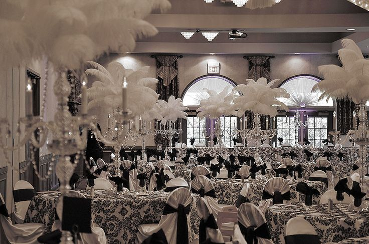 Black And White Damask Wedding Decor With Crystal Candelabras Topped With White Ostrich
