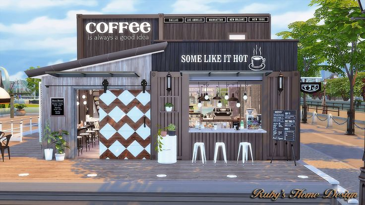 Sims4 Container Coffee Shop - Ruby's Home Design
