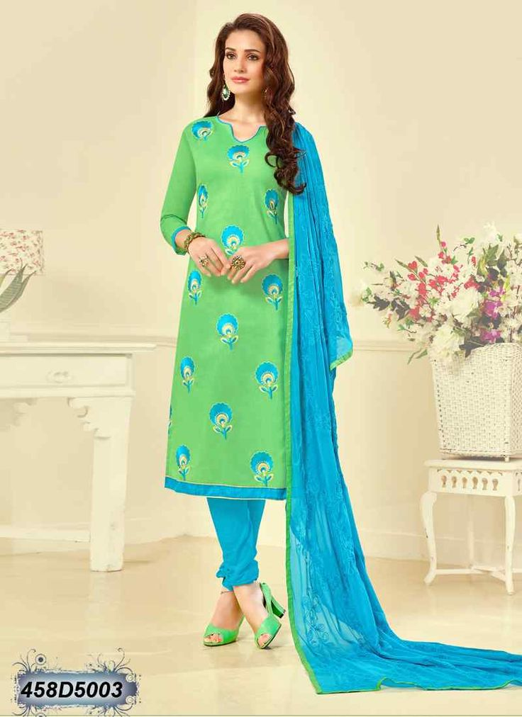 Bedazzling Parrot Green Coloured Cambric Cotton Salwar Suit