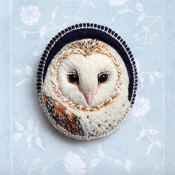Barn owl needle felt and embroidery brooch by cOnieco on Etsy