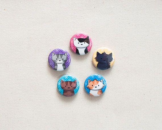 5 Cat Mini Magnets