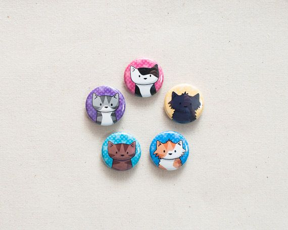 5 Cat Mini Magnets