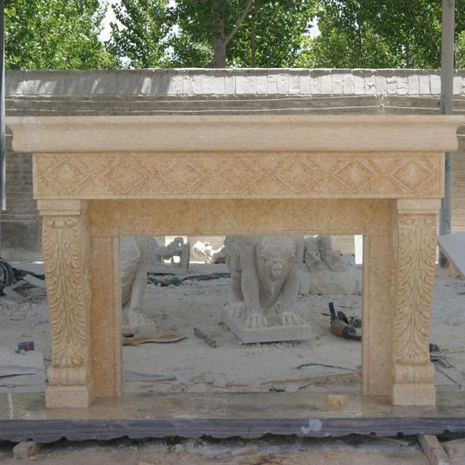 Classic Hand Carved Cheap French Beige Marble Fire…