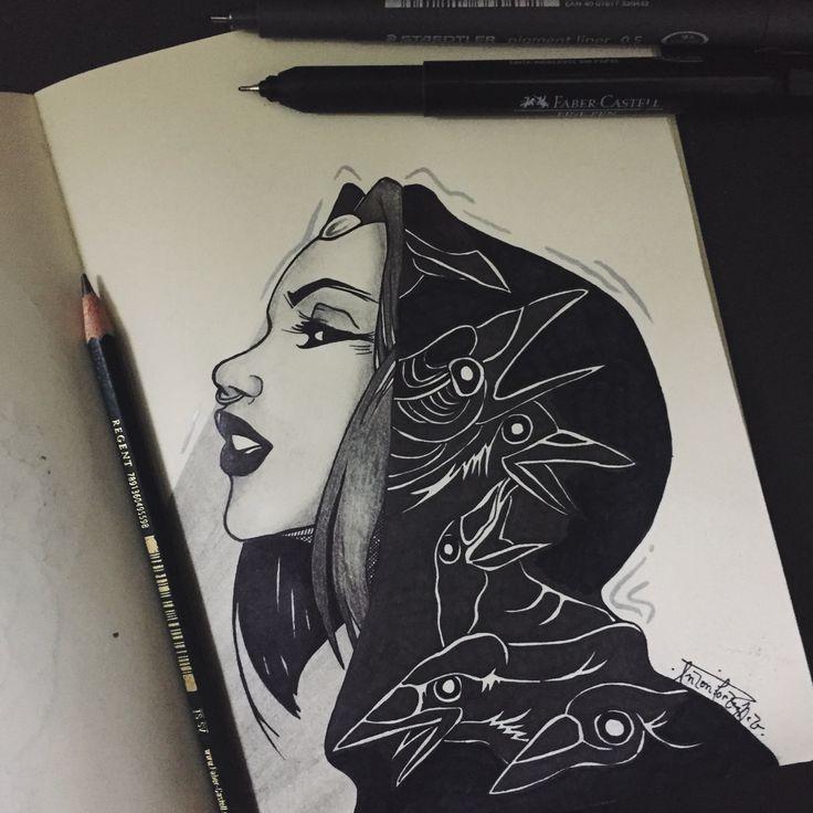 Ravena. Desenho a lápis 6B e 9B pretos, caneta 0.05 preta, marcador permanente 2.0 preto e tinta titanium white sobre folha de papel. Releitura da obra de um autor desconhecido. 16 de outubro de 2016.