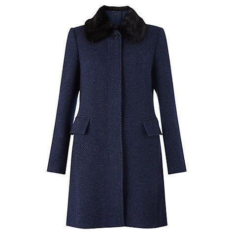 Buy Jigsaw Soft Tweed Princess Coat, Navy Online at johnlewis.com