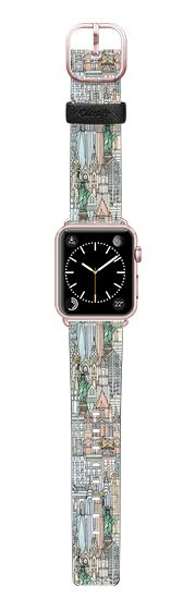 Casetify Apple Watch Band (38mm) Saffiano Leather Watch Band - New York watercolour apple watch band by Sharon Turner @casetify #NewYork #USA #applewatch #illustration #mint #coral #watercolor #city #cityscape