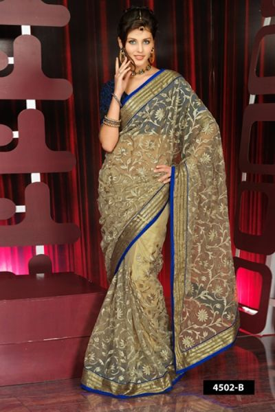 Cream Net Saree - Shipped within 1 day