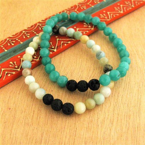 Flower Amazonite Essential Oil Diffuser Bracelet