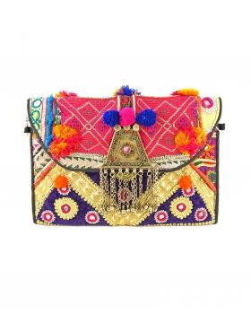 Clutches - Festival Ornated Antique Fabric Foldover Bag - Multi