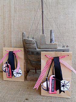 Μπομπονιέρα βάπτισης ναυτική σακούλα κράφτ με άγκυρα και πυξίδα