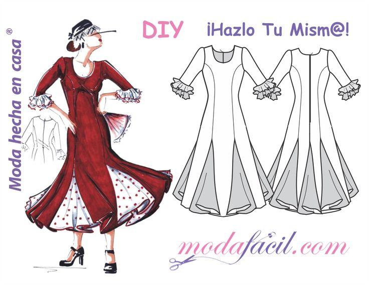 Descarga Gratis los patrones talla a talla de este precioso vestido de fiesta flamenca disponible en 12 tallas trazadas individuales Listas para poner sobre la tela y cortar